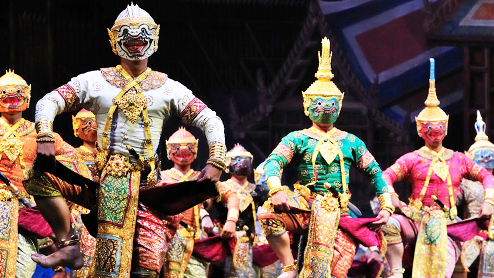Kohn is the traditional Thai masked dance. In the past, it was only performed for the royal family. It is now performed outside of the royal court, however, it is still considered to be one of the highest art forms in Thailand. The performances are derived from the Thai epic, Ramakien, which is the Thai version of the Hindu Ramayana. Most of the dancers are men, and they play a number of different characters, including men, women, demons, and monkeys. In addition to masks, these performances are accompanied by narrators and a Thai piphat orchestra, which usually consists of percussion and wind instruments.